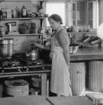 Elsie Crowninshield in her kitchen at Camp Takodah