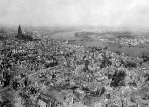 Ruins of Cologne, Germany, at the end the war