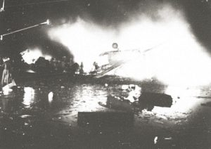 Aircraft #42-97870 burns moments after crashing at RAF Rougham Airfield