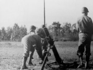 Mortar firing practice with the 83rd