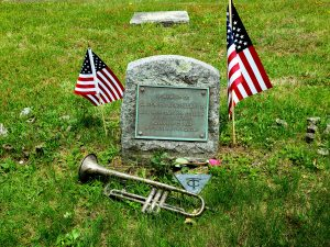 Beany's trumpet at his grave on Memorial Day, 2019
