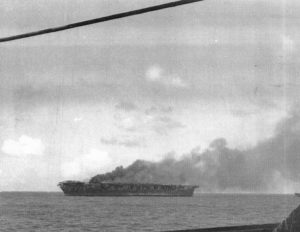 USS Hornet burning after Japanese attack