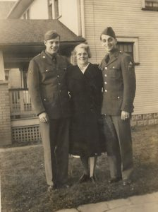 Slade brothers with their mother on the day Bob and Dorothy married