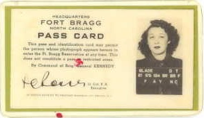 Dorothy's Identification Card for Fort Bragg