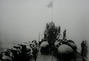 Kaiten torpedoes on the top of a Japanese submarine