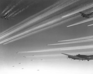 Formation of B-17F Flying Fortress bombers of USAAF 92nd Bomb Group over Europe
