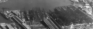 Destroyer production yards at the Bethlehem Steel Company's Fore River Shipyard in Quincy, Massachusetts