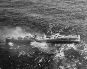 US Navy Destroyer Escort, broken in two and sinking after being torpedoed, 1945