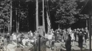 Flag Raising Ceremony, Boys Camp, 1926 (Robert is likely present in this photograph)