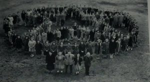 Keene High School Class of 1943 (with Allen's father at right in the front row)