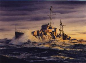Painting of a Destroyer Escort underway by Richard Moore